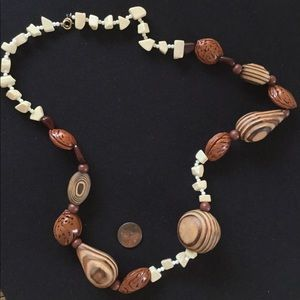 Jewelry - Almond hard shell carved wood bone necklace beaded